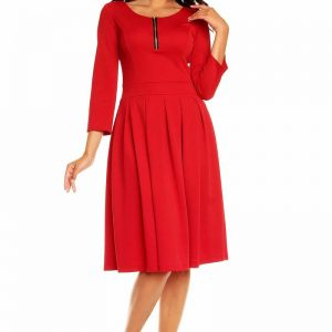 Red Pleated Flippy Dress with Contrast Neckline Details - Dresses -