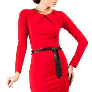 Red Pleated Neckline Shift Dress with Belt - Dresses -