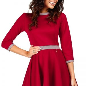 Red Retro Style A-line Mini Dress - Dresses -