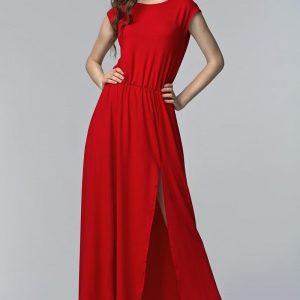 Red Side Slit Maxi Dress with Overlap Back - Dresses -