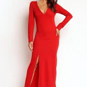 Red Slit Maxi Dress with V-Neckline - Dresses -