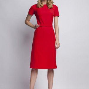 Red elegant dress with ornate waist belt - Dresses -