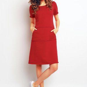 Red sporty dress with kangaroo pockets - Dresses -