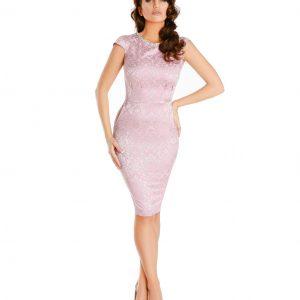 Rochie de ocazie brocard roz pal colier 9342-2 - ROCHII DE SEARA SI OCAZIE - OCAZIE