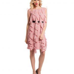 Rochie de ocazie din voal roz cu volane 9372 - ROCHII DE SEARA SI OCAZIE - OCAZIE