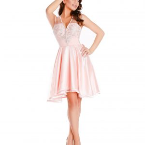 Rochie de ocazie din voal roz pal si dantela 9348 - ROCHII DE SEARA SI OCAZIE - OCAZIE