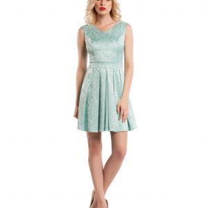 Rochie de zi brocard bleu 9349-1 - ROCHII DE ZI - Pentru fiecare zi
