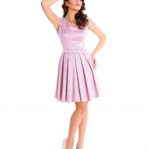 Rochie de zi brocard roz pal 9349-2 - ROCHII DE ZI - Pentru fiecare zi