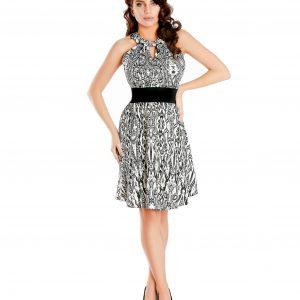Rochie de zi imprimeu alb-negru 9346 - ROCHII DE ZI - Pentru fiecare zi