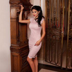 Rochie din dantela roz-pudra 9393 - ROCHII DE SEARA SI OCAZIE - OCAZIE