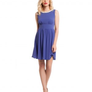 Rochie eleganta din voal albastru 9344-1 - ROCHII DE SEARA SI OCAZIE - OCAZIE