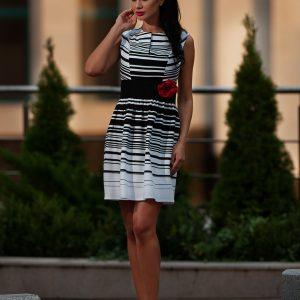 Rochie eleganta dungi alb-negru 9390 - ROCHII DE ZI - Pentru fiecare zi