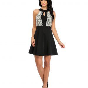 Rochie eleganta neagra dantela aplicata 9328-1 - ROCHII DE ZI - Pentru fiecare zi