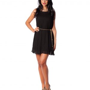 Rochie eleganta voal plisat negru 9375-1 - ROCHII DE SEARA SI OCAZIE - OCAZIE
