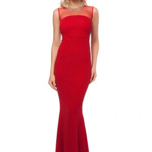 Rochie rosie lunga tip sirena 9398-2 - ROCHII DE SEARA SI OCAZIE - OCAZIE