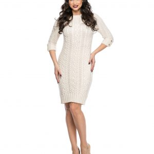 Rochie tricotata bej 404-2 - ROCHII DE ZI - Pentru fiecare zi