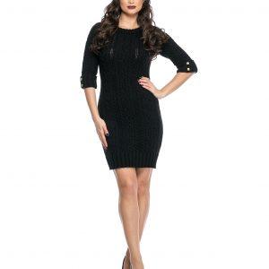 Rochie tricotata neagra 404-1 - ROCHII DE ZI - Pentru fiecare zi
