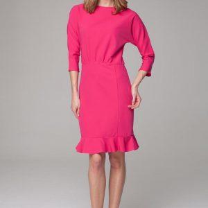 Sophisticated pink midi dress with bateau neckline - Dresses -