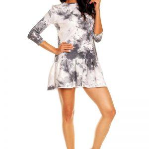 White-Grey Long Sleeves Sporty Smock Dress - Dresses -