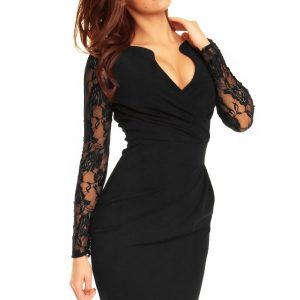 Wrap Around Self Belted Sheath Black Dress - Dresses -