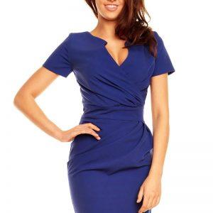 Wrap Around Self Belted Sheath Blue Dress - Dresses -
