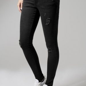 Blugi rupti denim pentru Femei negru-washed Urban Classics - Pantaloni urban - Urban Classics>Femei>Pantaloni urban