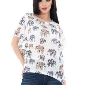 Bluza alba cu imprimeu BR1359 - Bluze si topuri -
