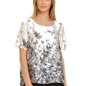 Bluza alba cu imprimeu floral gri V22-G - Bluze si topuri -