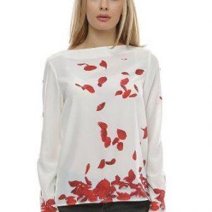 Bluza alba cu imprimeu petale trandafir B100-A - Bluze si topuri -