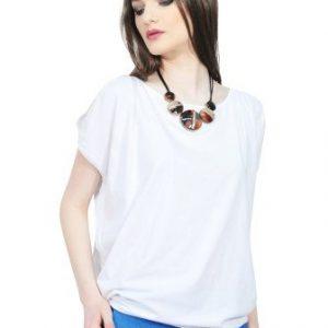 Bluza alba cu spatele decupat D2544-A - Bluze si topuri -