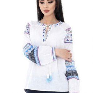 Bluza alba din bumbac BR1352 - Bluze si topuri -