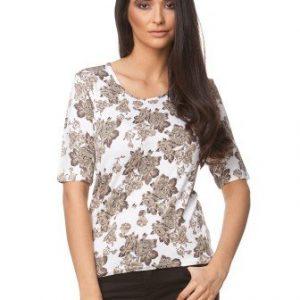 Bluza alba din jerse cu imprimeu trandafiri CP131 - Bluze si topuri -