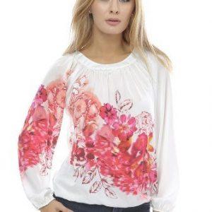 Bluza alba din matase cu imprimeu floral B91 alb - Outlet -