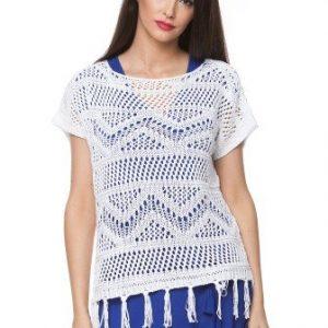 Bluza alba din tricot cu franjuri 15099 - Bluze si topuri -
