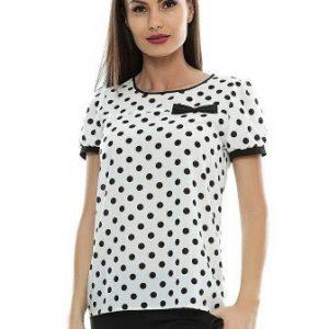 Bluza alba din vascoza cu buline negre B75 - Bluze si topuri -