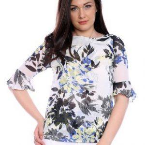Bluza alba din voal cu imprimeu floral AM-60225 - Bluze si topuri -