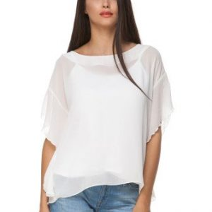 Bluza alba din voal cu maneca stil fluture BAMBY - Bluze si topuri -