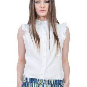 Bluza alba fara maneci D2550 - Bluze si topuri -
