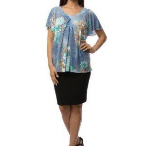 Bluza albastra cu imprimeu floral din vascoza CV205 - Bluze si topuri -