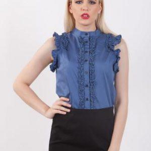 Bluza albastra din bumbac D2143 - Bluze si topuri -