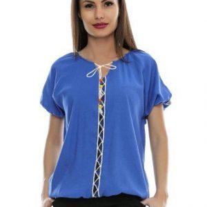 Bluza albastra din bumbac cu broderie B81 - Bluze si topuri -