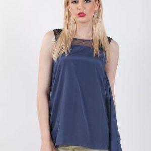 Bluza albastra din matase naturala si bumbac D2123 - Bluze si topuri -