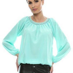 Bluza aqua din voal satinat cu maneca lunga B61B - Bluze si topuri -