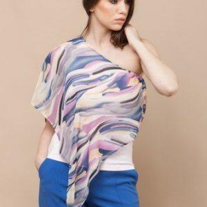 Bluza asimetrica cu un umar gol CF499 roz - Bluze si topuri -