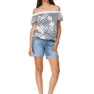 Bluza bej cu buline si maneci bufante din vascoza D2351-B - Bluze si topuri -