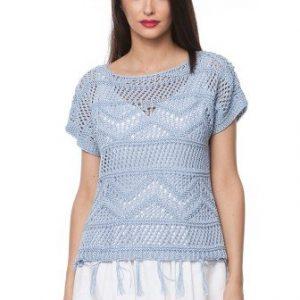 Bluza bleo din tricot cu franjuri 15099 - Bluze si topuri -