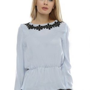 Bluza bleu cu dantela neagra B101 - Bluze si topuri -