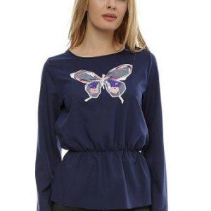 Bluza bleumarin cu aplicatie broderie fluture B99 - Bluze si topuri -