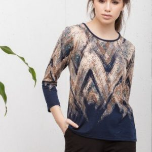 Bluza bleumarin cu imprimeu abstract CI201 - Bluze si topuri -