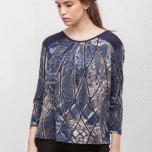 Bluza bleumarin cu snake print CI1935 - Bluze si topuri -